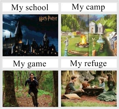 Harry Potter, Camp Half Blood, Hunger Games, Narnia