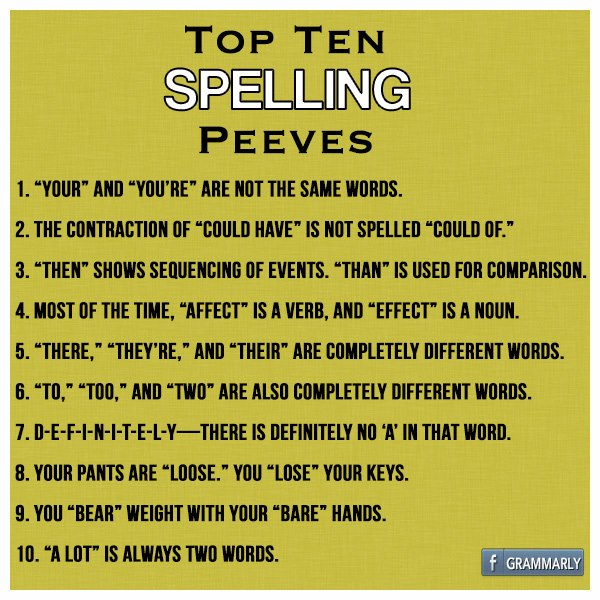 Spelling Pet Peeves